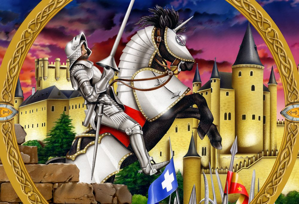Painted Illustration Other knight castle steed